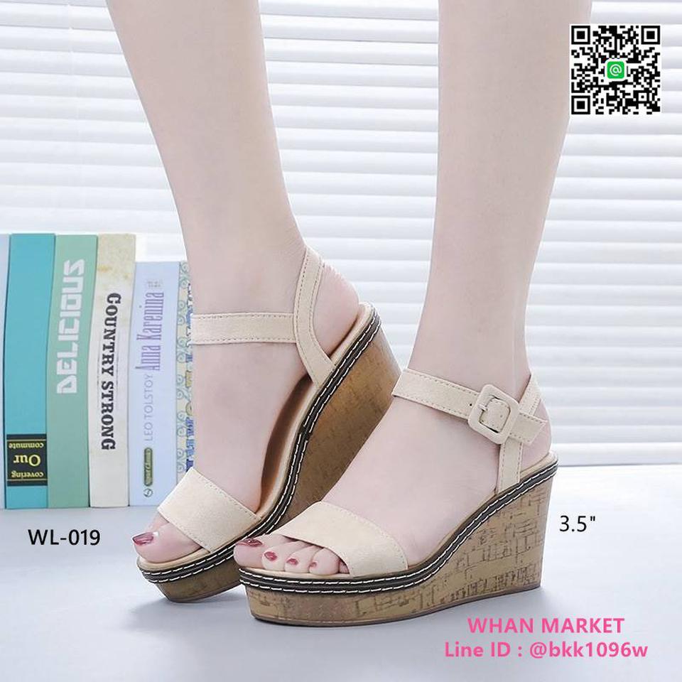 รองเท้าส้นเตารีด สูง 3.5 นิ้ว ผ้าสักหลาด สวมใส่ง่ายด้วยตะขอเ รูปที่ 4