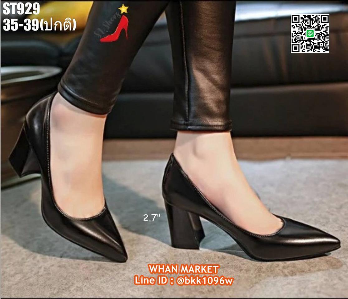 รองเท้าคัชชู ส้นแท่ง สูง 2.7 นิ้ว หัวแหลม วัสดุหนังแก้ว  รูปที่ 2