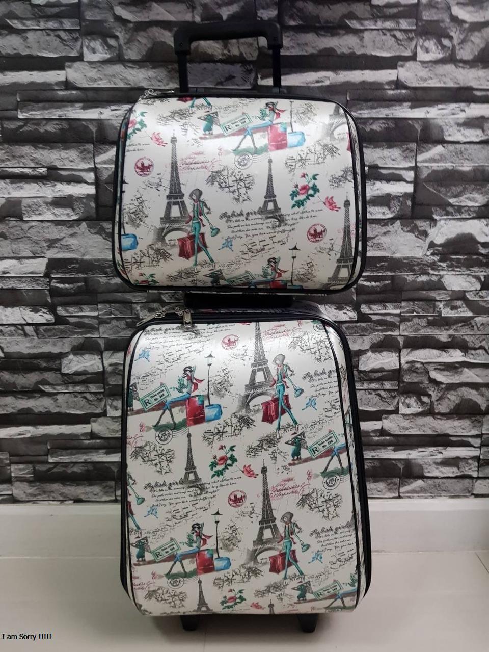 กระเป๋าเดินทางแบบผ้า เซ็ทคู่ 18/13 นิ้ว ลายหอไอเฟว รูปที่ 2