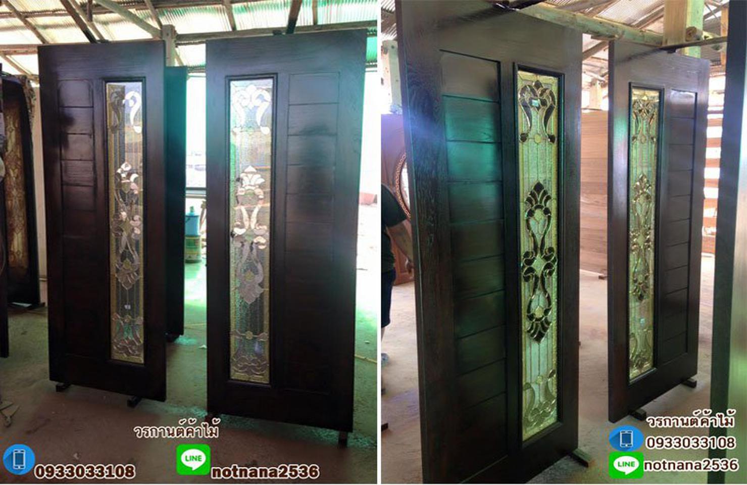 ร้านวรกานต์ค้าไม้ จำหน่าย ประตูไม้สักบานคู่ ประตูไม้สักบานเดี่ยว ประตูไม้สักกระจกนิรภัย ประตูโมเดิร์น รูปที่ 1