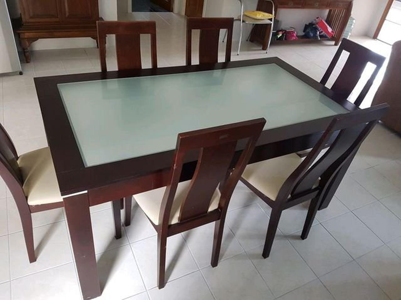 ชุดโต๊ะ พร้อมเก้าอี้ 6 ที่นั่ง  ขนาดโต๊ะ 165x90 cm. รูปที่ 2