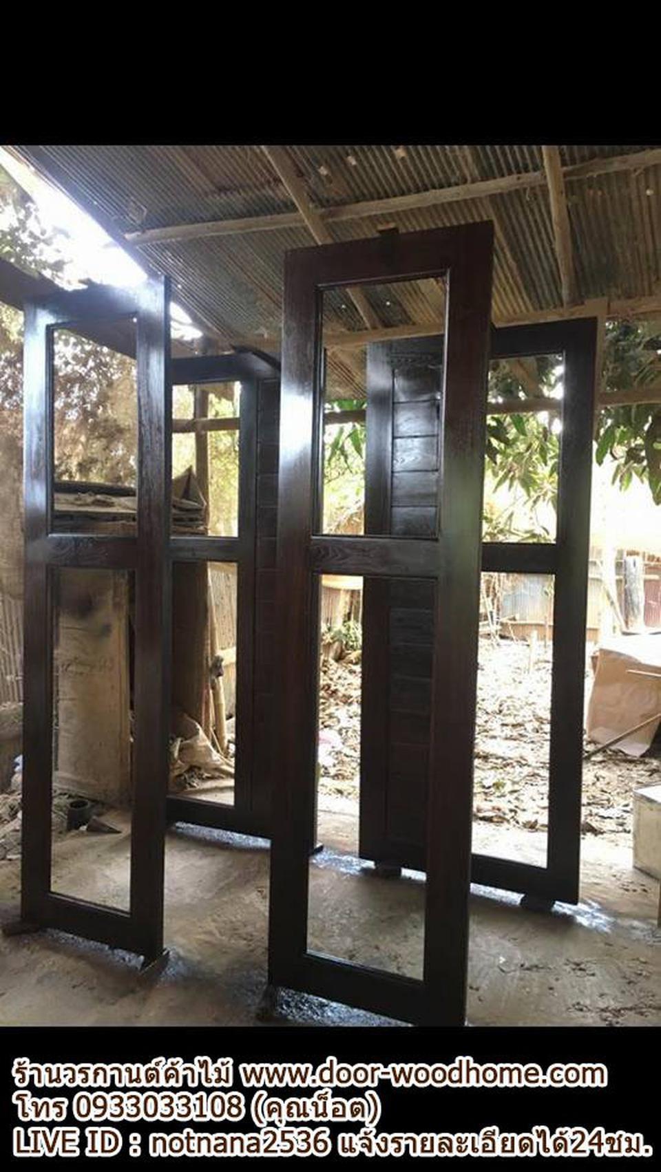 ร้านวรกานต์ค้าไม้ จำหน่าย ประตูไม้สักบานคู่ ประตูไม้สักบานเดี่ยว ประตูไม้สักกระจกนิรภัย ประตูโมเดิร์น รูปที่ 4