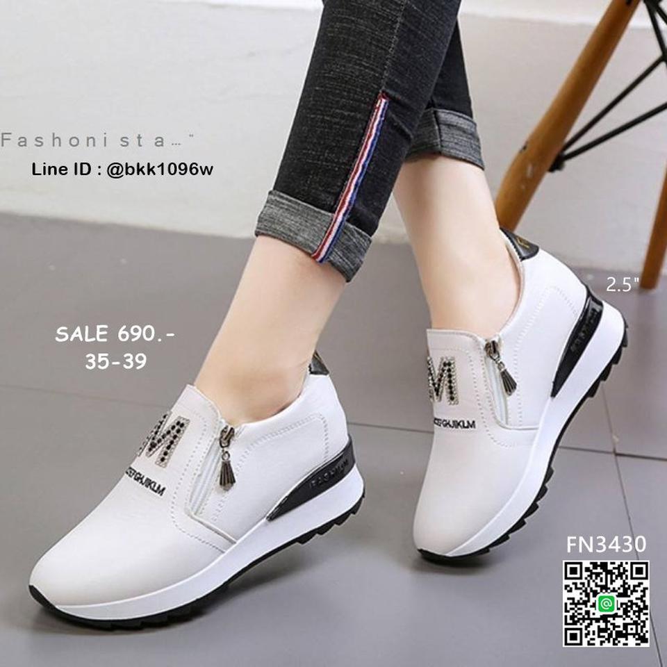 รองเท้าผ้าใบเสริมส้น วัสดุ pu เนื้อหนานุ่ม แต่งซิปคู่ด้านหน้ รูปที่ 6