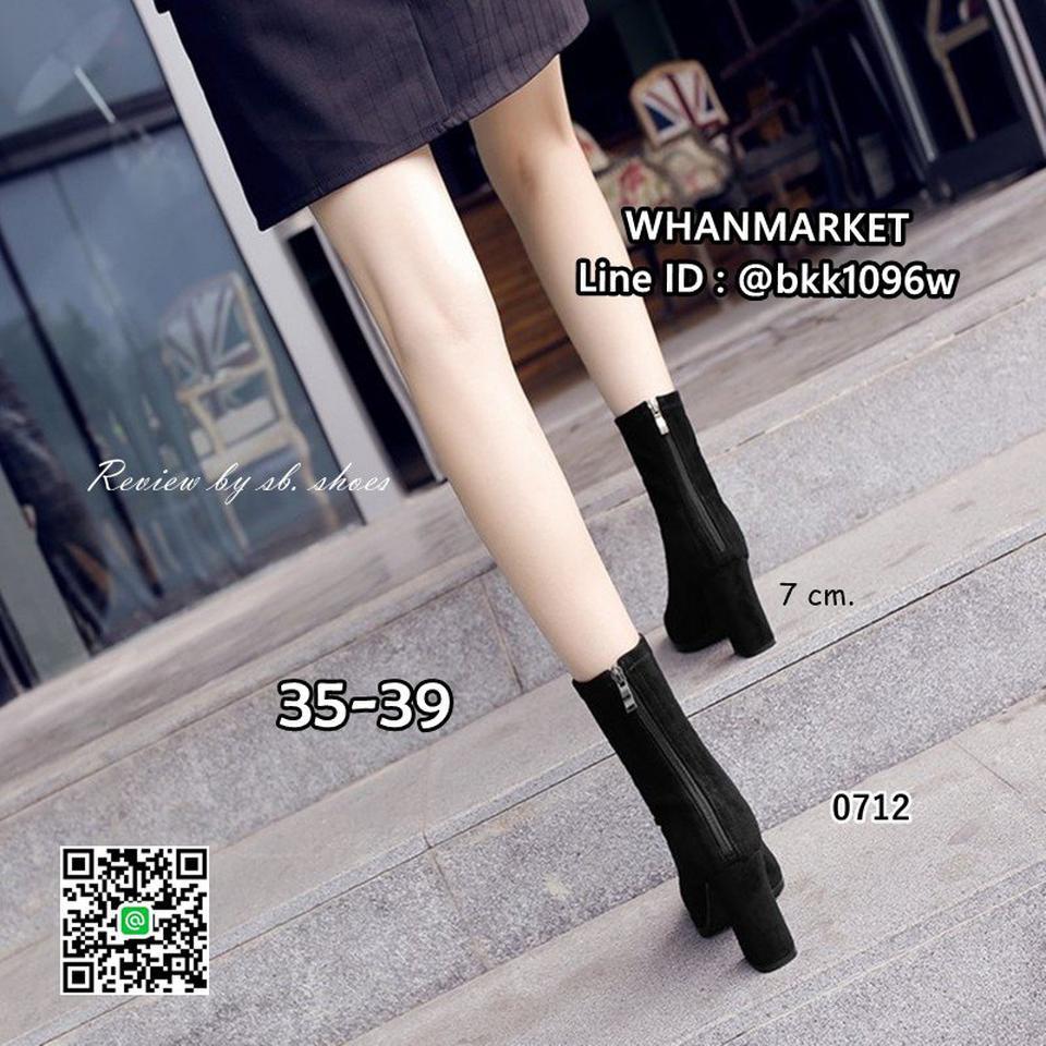 รองเท้าบูทส้นสูง วัสดุหนังกำมะหยี่นิ่ม สไตล์เกาหลี ซิปหลัง รูปที่ 3
