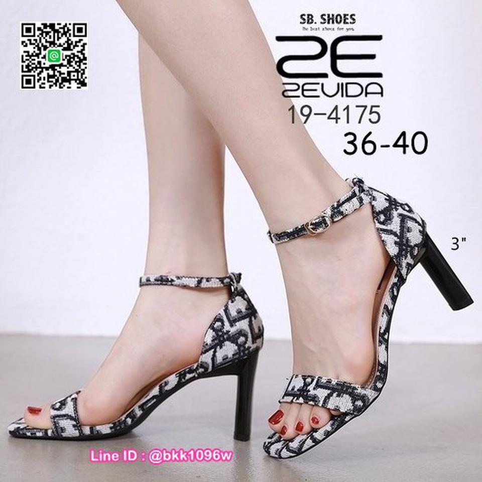 รองเท้าส้นสูง 3นิ้ว วัสดุผ้าพิมพ์ลาย รัดข้อตะขอเกี่ยว  รูปที่ 6