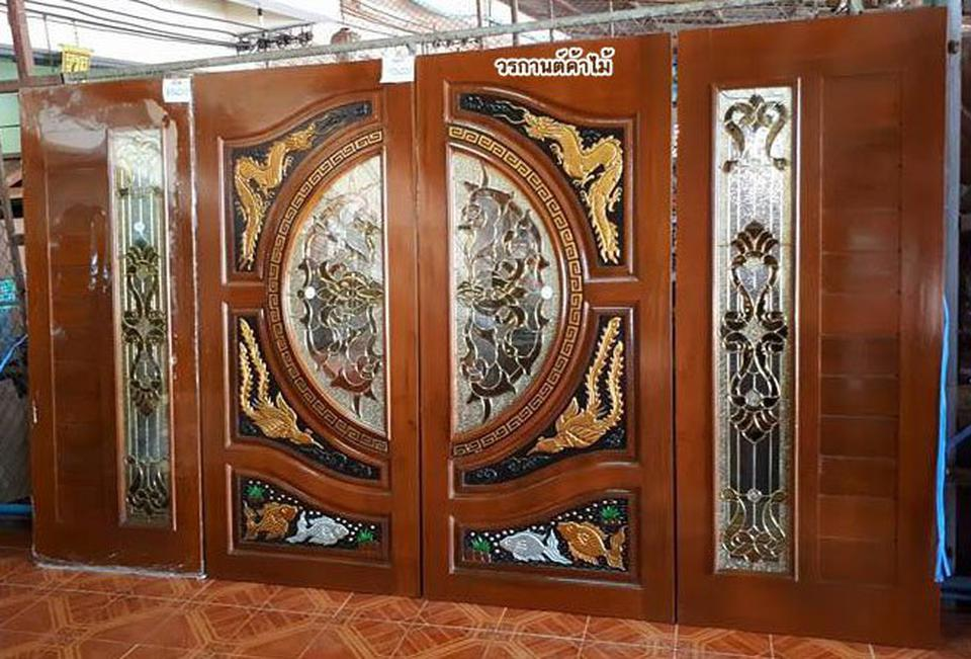 ร้านวรกานต์ค้าไม้ จำหน่าย ประตูไม้สัก กระจกนิรภัย,ประตูบานเลื่อนไม้สัก รูปที่ 2
