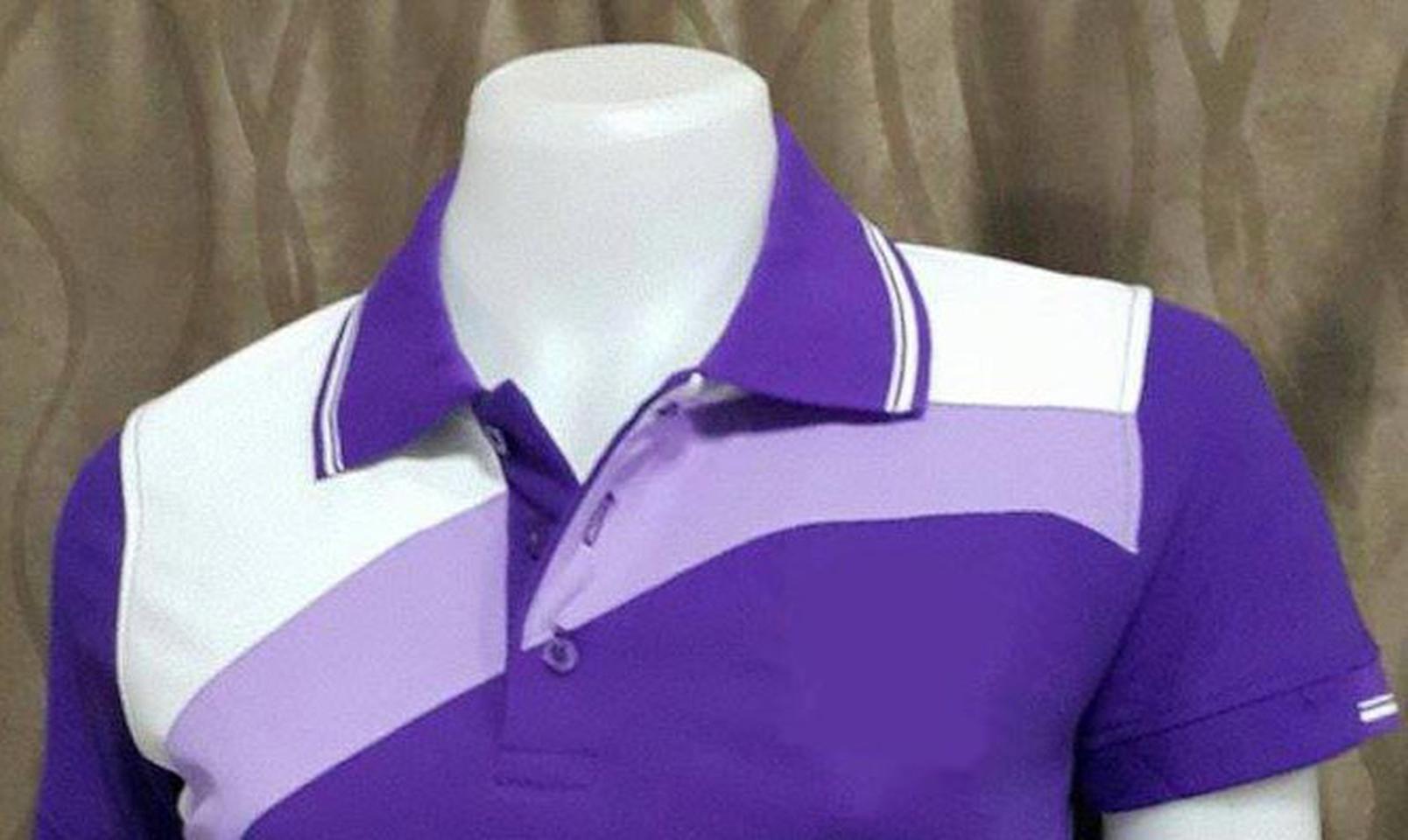 เสื้อโปโลสำเร็จรูปตัดต่อ สีม่วงแบบสไลท์ ทรงสปอร์ต รูปที่ 2