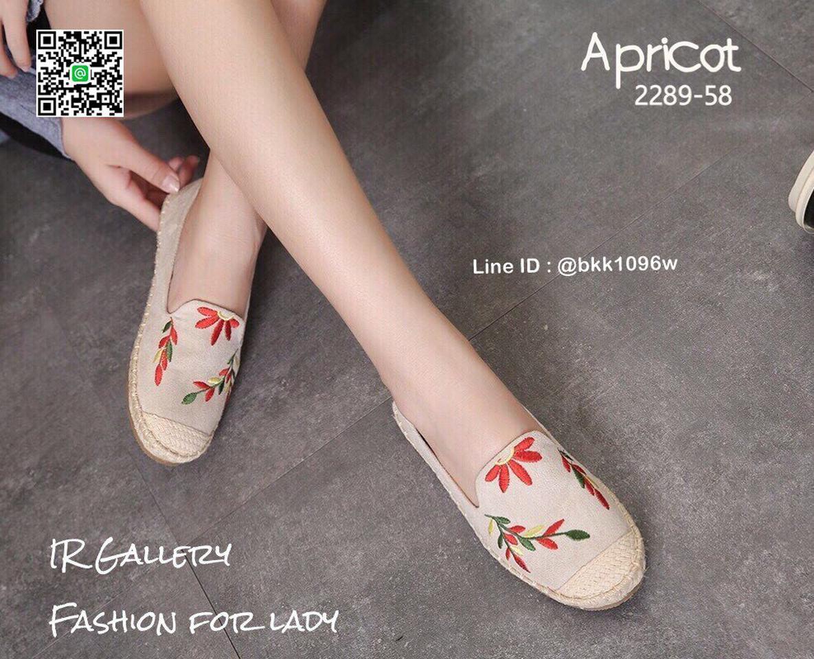 รองเท้าคัชชูลำลอง ทรงเอสพราดิล วัสดุหนังกลับนิ่มปักดอกไม้  รูปที่ 2