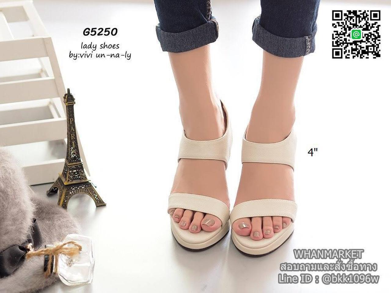 รองเท้าส้นสูงรัดส้น สายรัดแบบยางยืด ทรงสวยมากๆๆๆ เสริมหน้า 0.5 นิ้ว ความสูง 4 นิ้ว รูปที่ 3