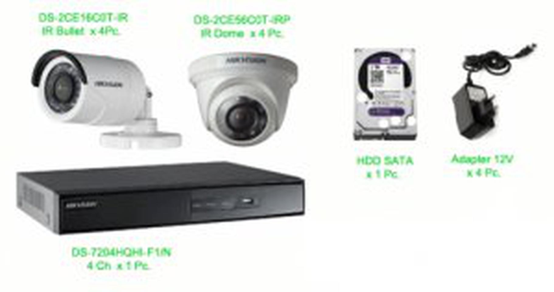 ชุด กล้องวงจรปิด hikvision ราคาถูก 1 ล้านพิกเซล 4 ตัว รูปที่ 1