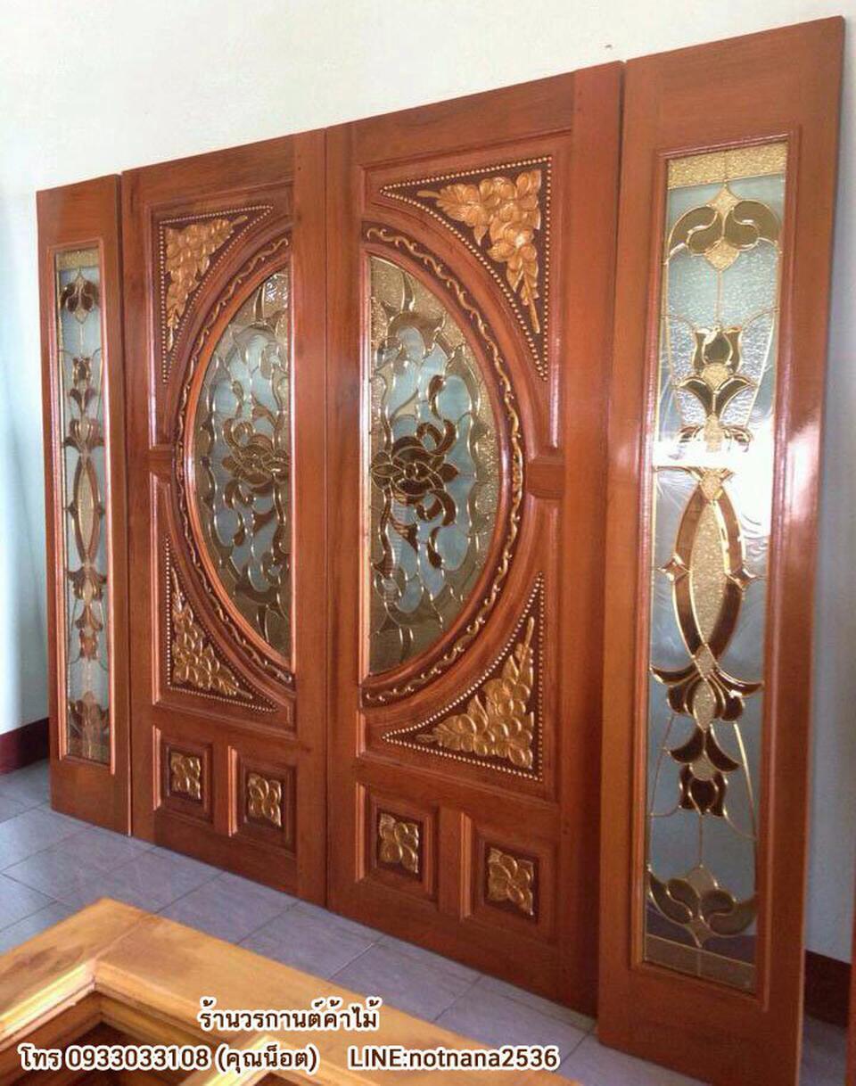ร้านวรกานต์ค้าไม้ จำหน่าย ประตูไม้สักบานคู่กระจกนิรภัย ประตูโมเดิร์น ประตูไม้สักบานเลื่อน รูปที่ 6