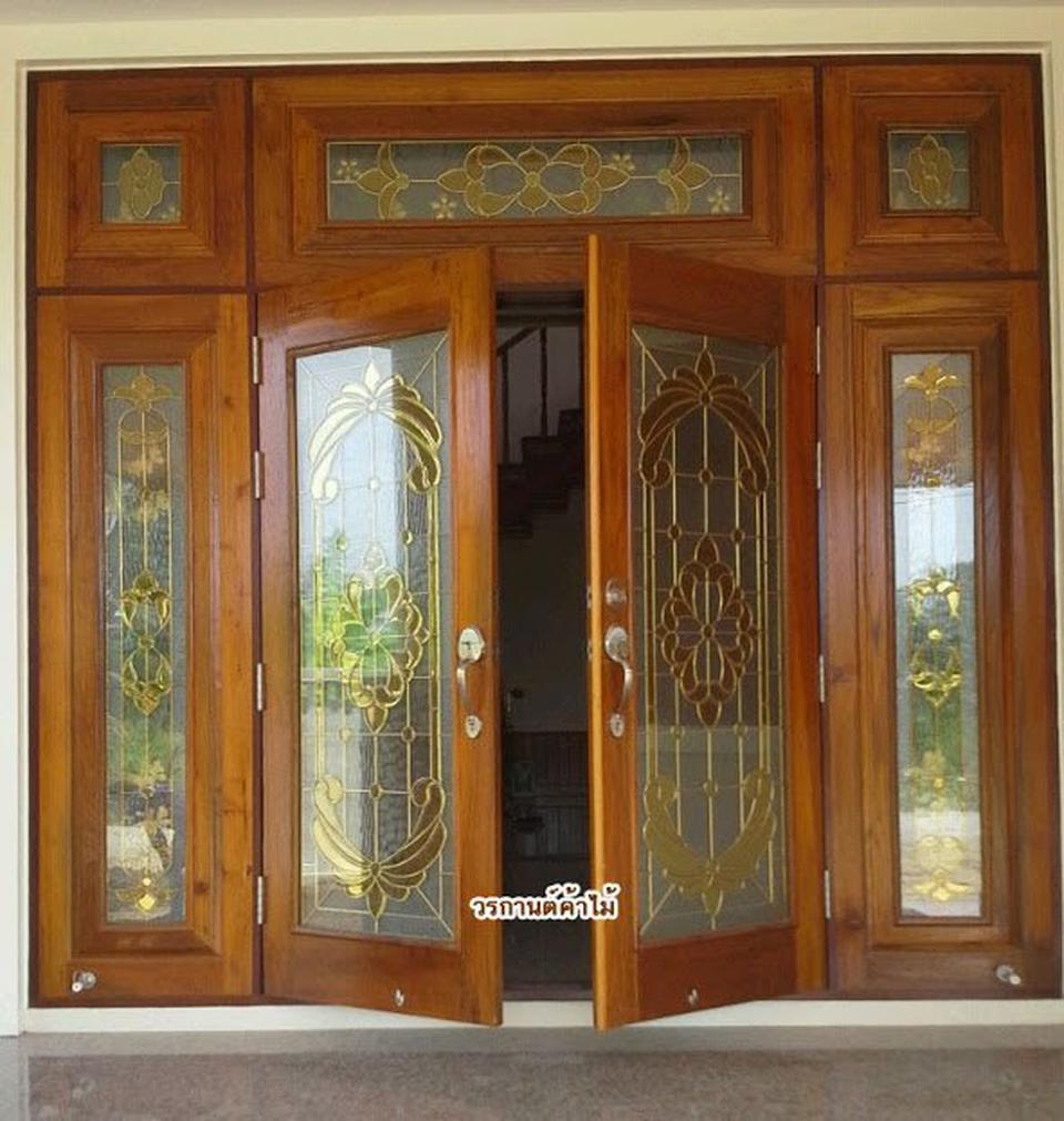 ประตูไม้สัก , ประตูไม้สักกระจกนิรภัย , ประตูหน้าต่าง ร้านวรกานต์ค้าไม้ door-woodhome รูปที่ 3