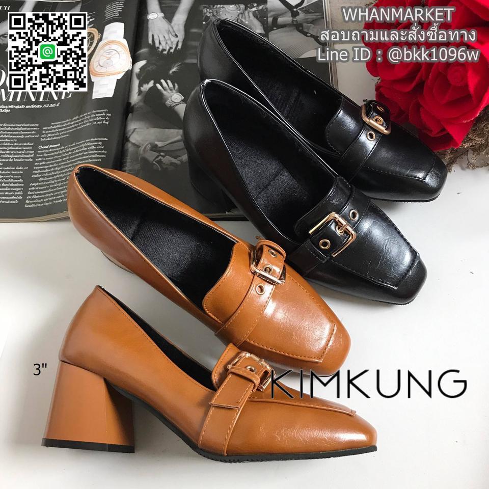 """รองเท้าคัทชูส้นสูง style oxford งานนำเข้า งานเกาหลี เข็มขัดด้านหน้า สูง 3"""" รูปที่ 1"""
