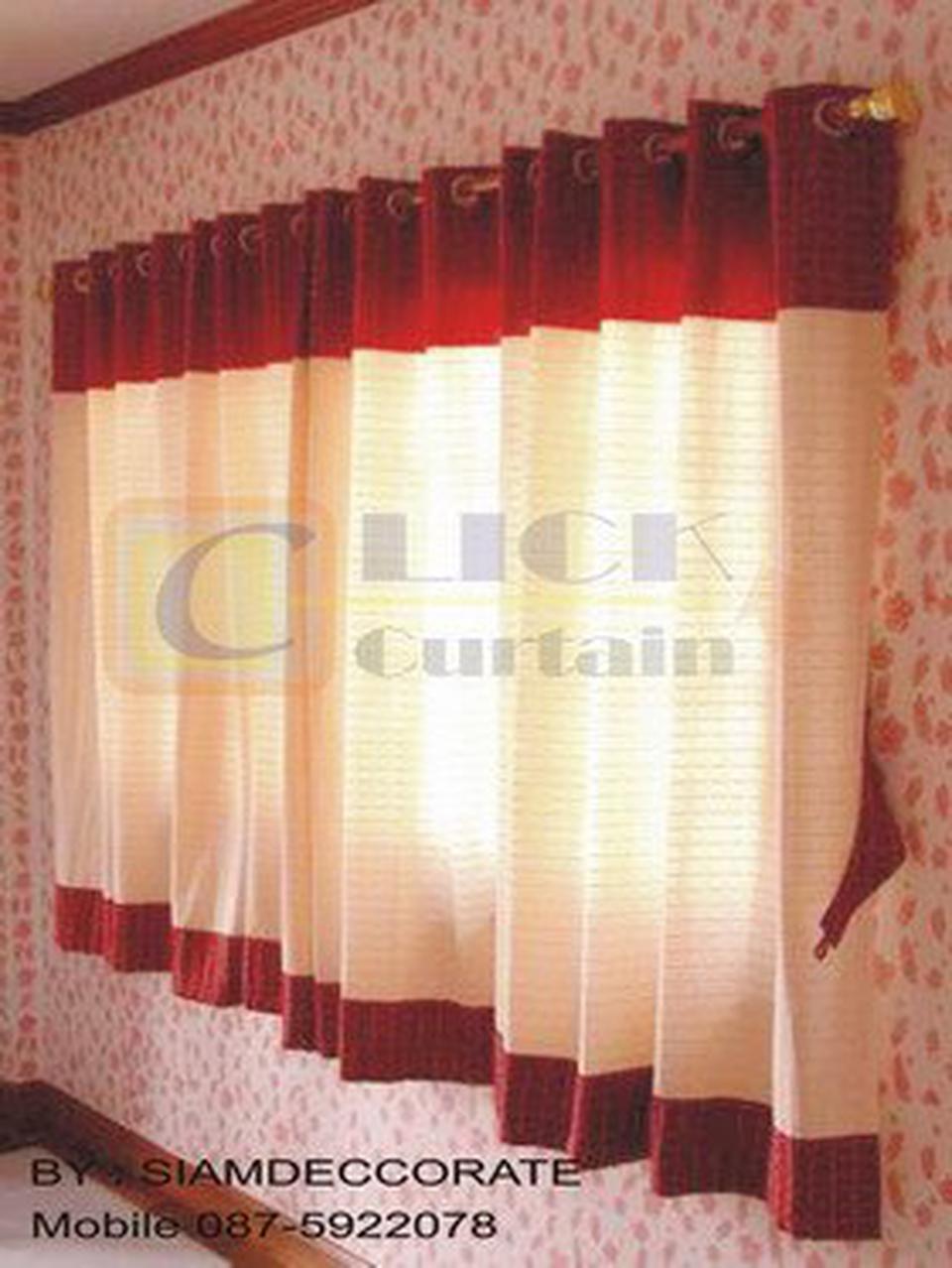 ร้านผ้าม่านสำเร็จรูป ( Click Curtain ) เราเป็นผู้ผลิตผ้าม่านสำเร็จรูปที่มีจำหน่ายหลากสไตล์ เช่น ม่านตอกตาไก่,ม่านคอกระเช รูปที่ 4