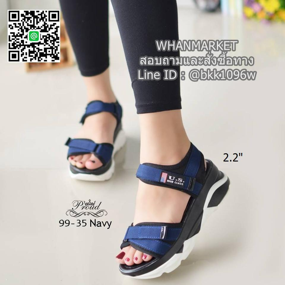 """รองเท้าลำลองส้นแบน วัสดุผ้าไมโครไฟเบอร์ พื้นพียูนิ่มๆ ดีเทลสายคาดหน้า สูง 2.2"""" รูปที่ 3"""