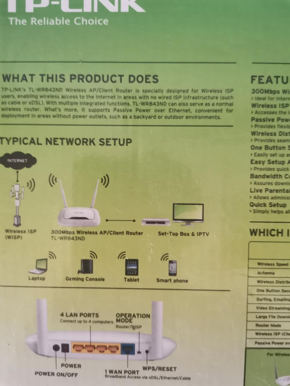 เร๊าเตอร์tplink tl3-wr843nd300mbpsสภาพใหม่แกะกล่องใช้งานได้ปกติ อุปกรณ์ครบ  รูปที่ 4