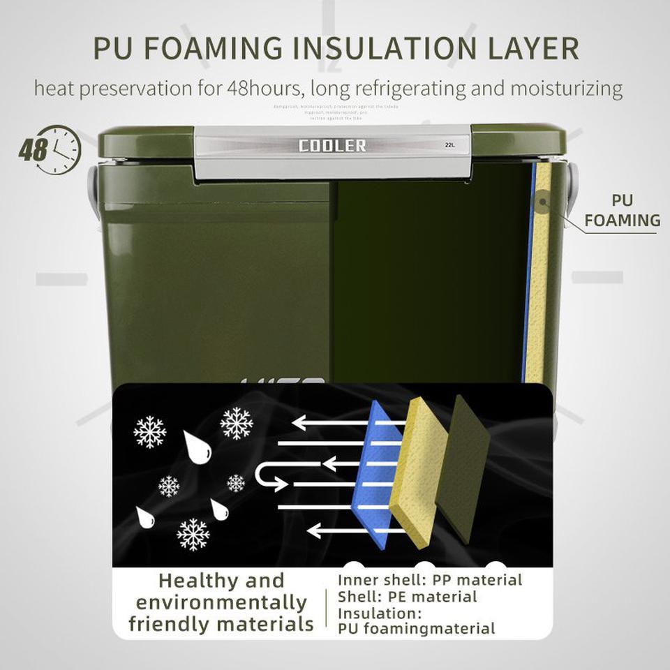 กระติกถังน้ำเก็บความเย็นถังแช่เครื่องดื่มน้ำเย็น22ลิตรเก็บความเย็นได้48ชม.ฝาเปิดได้2ทางมีจุกปล่อยน้ำด้านข้างhitorhike รูปที่ 3