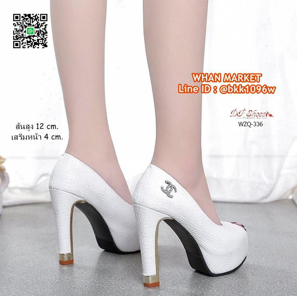 รองเท้าคัชชูส้นสูง 12 cm. เสริมหน้า 4 cm. วัสดุหนัง PU ปั้มล รูปที่ 4