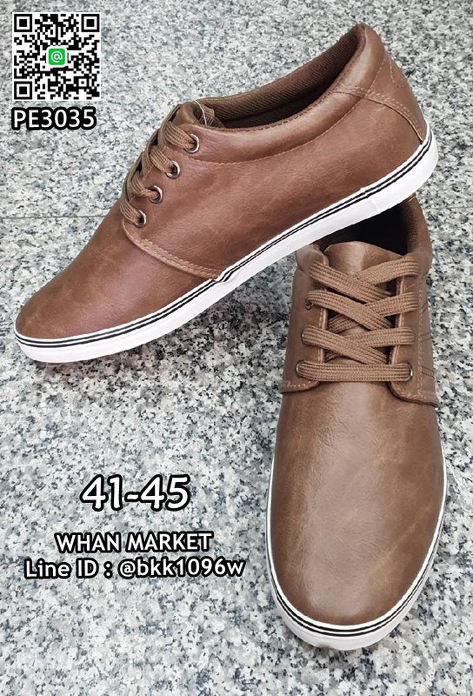 รองเท้าผ้าใบหนังผู้ชาย วัสดุหนังPU คุณภาพดี มีเชือกผูกปรับกร รูปที่ 1