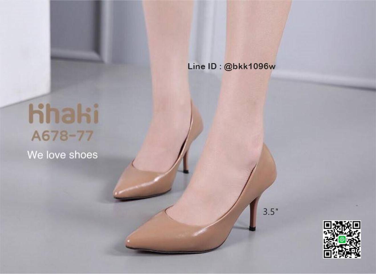 รองเท้าคัชชู ส้นสูง 3.5 นิ้ว หนังPUนิ่ม เงางาม ทรงหัวแหลม รูปที่ 1
