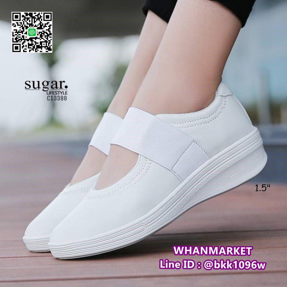 รองเท้าผ้าใบหนังเสริมส้น 1.5 นิ้ว วัสดุหนัง pu นิ่มมาก  รูปที่ 5