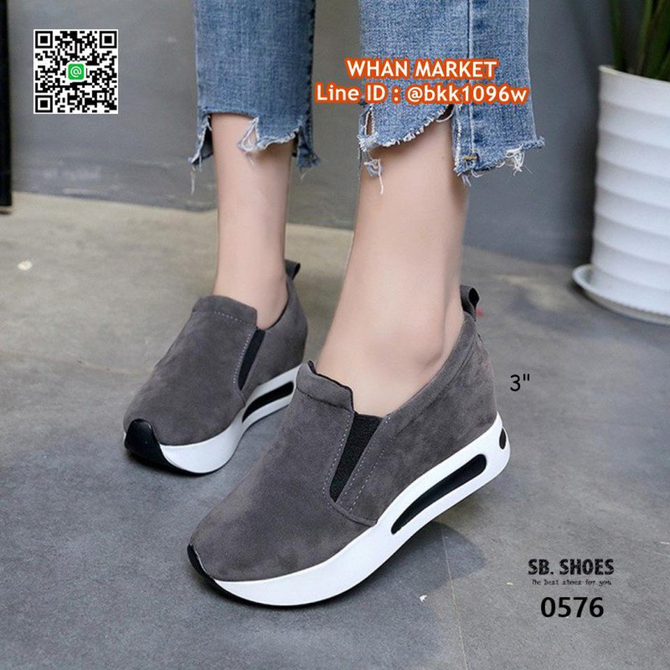 รองเท้าผ้าใบเสริมส้น สูง 3 นิ้ว สไตล์เกาหลี วัสดุหนังสักกะหล รูปที่ 2