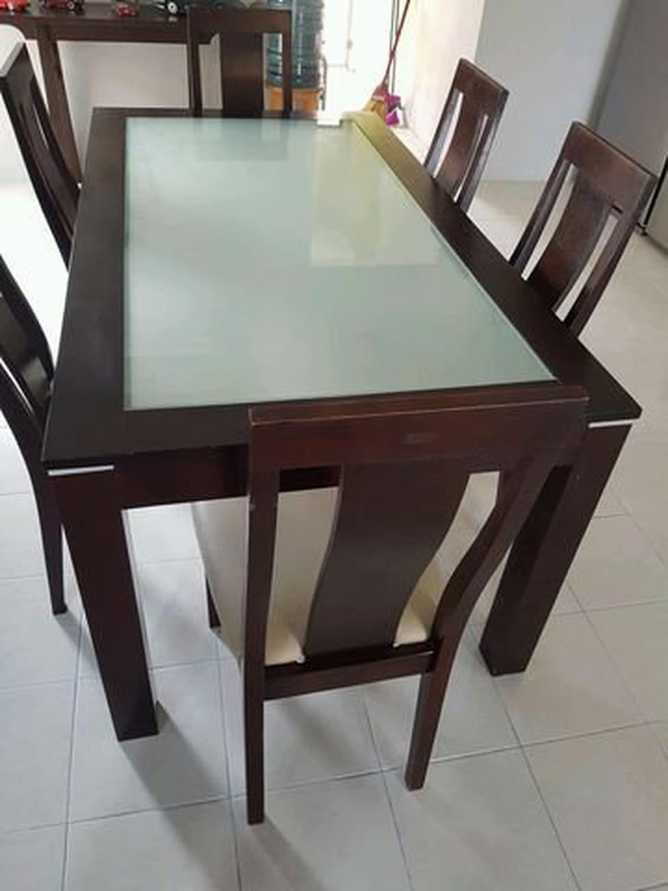 ชุดโต๊ะ พร้อมเก้าอี้ 6 ที่นั่ง  ขนาดโต๊ะ 165x90 cm. รูปที่ 4