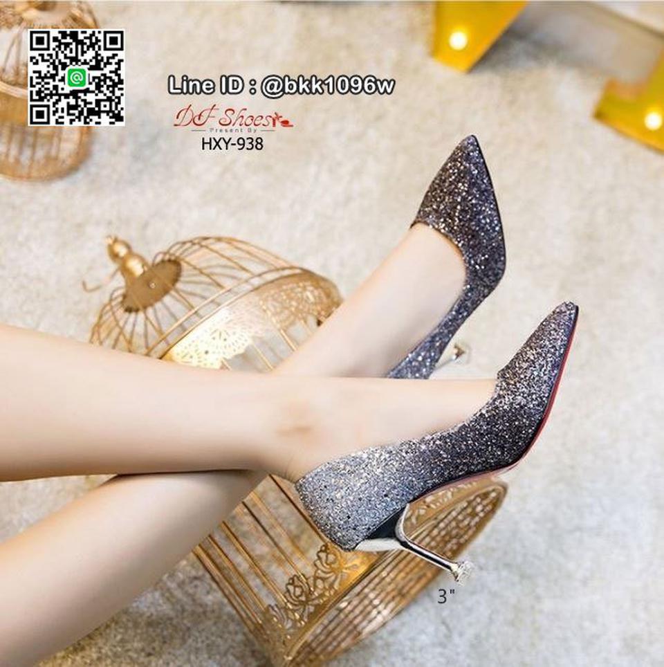 รองเท้าคัชชูส้นสูง 3 นิ้ว วัสดุหนัง PU ประดับกริตเตอร์   รูปที่ 2