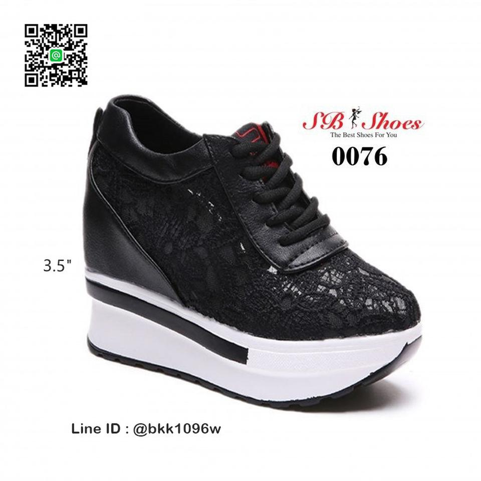 รองเท้าผ้าใบเสริมส้น วัสดุลูกไม้+หนัง PU แพลตฟอร์มเกาหลี   รูปที่ 6