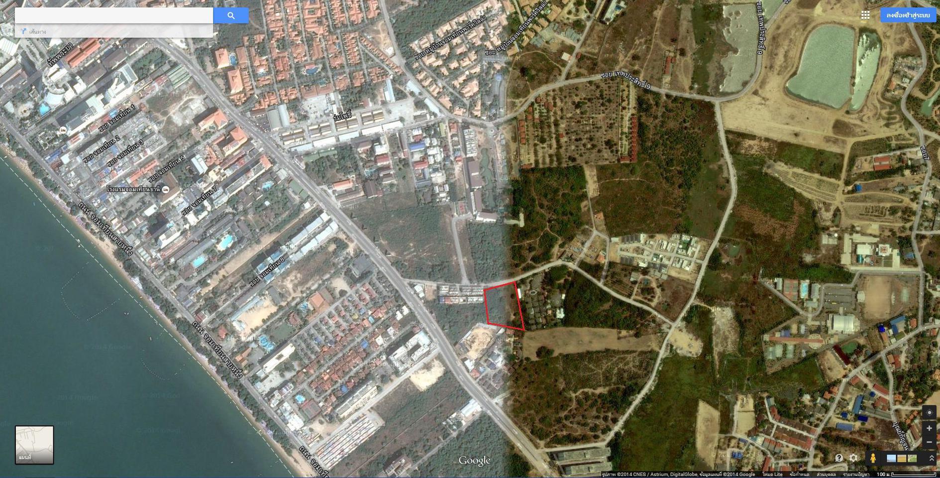 ขายที่ดิน 5 ไร่ 55 ตารางวา หน้ากว้าง 73 เมตร ลึก 121 เมตร ใก้ลหาดพัทยา เหมาะสร้างโรงแรมและดอนโด รูปที่ 1