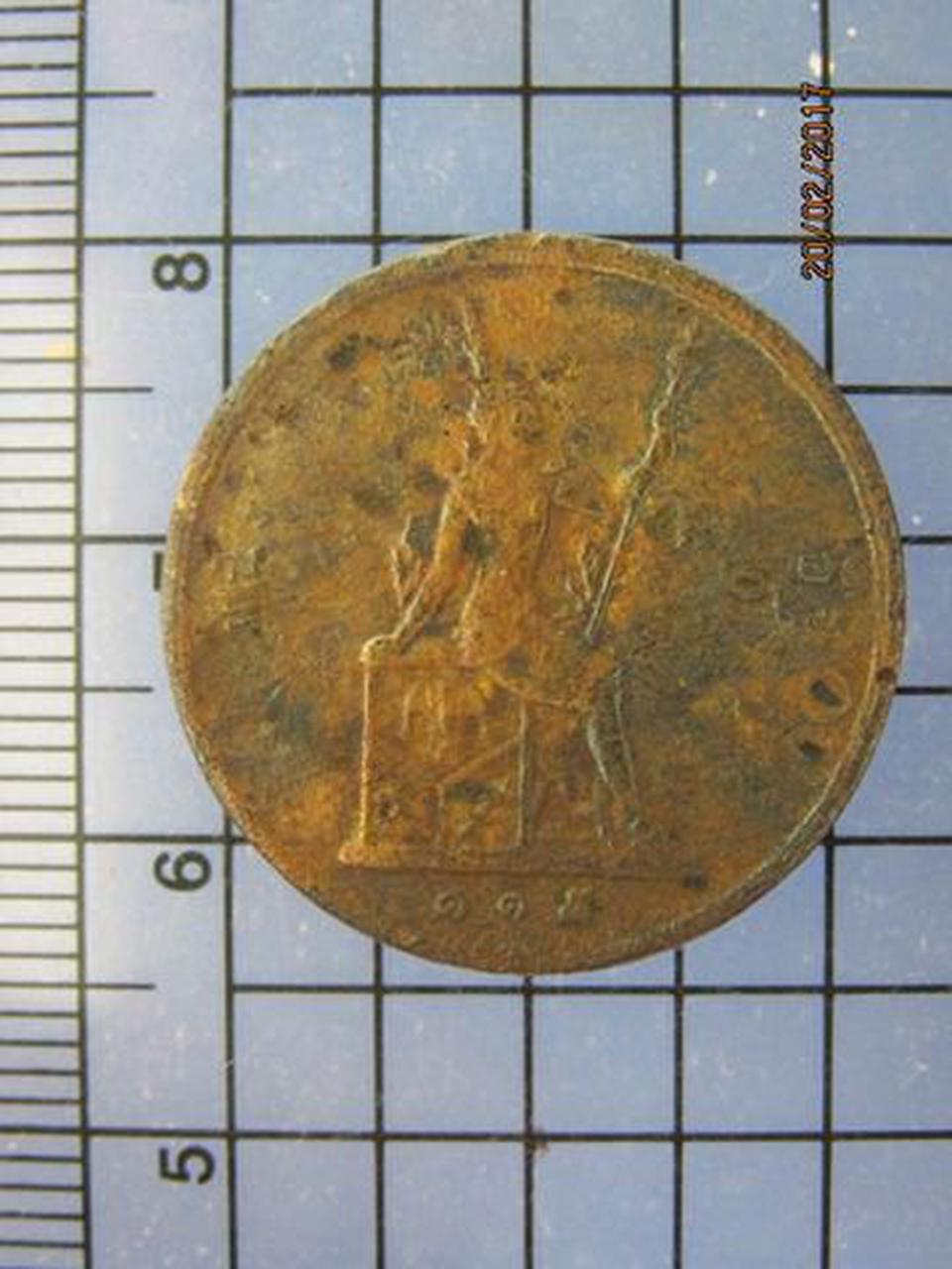 4273 เหรียญทองแดง 1อัฐ รศ.115 ตราพระสยามเทวาธิราช หัวไม่ตรงก รูปที่ 1