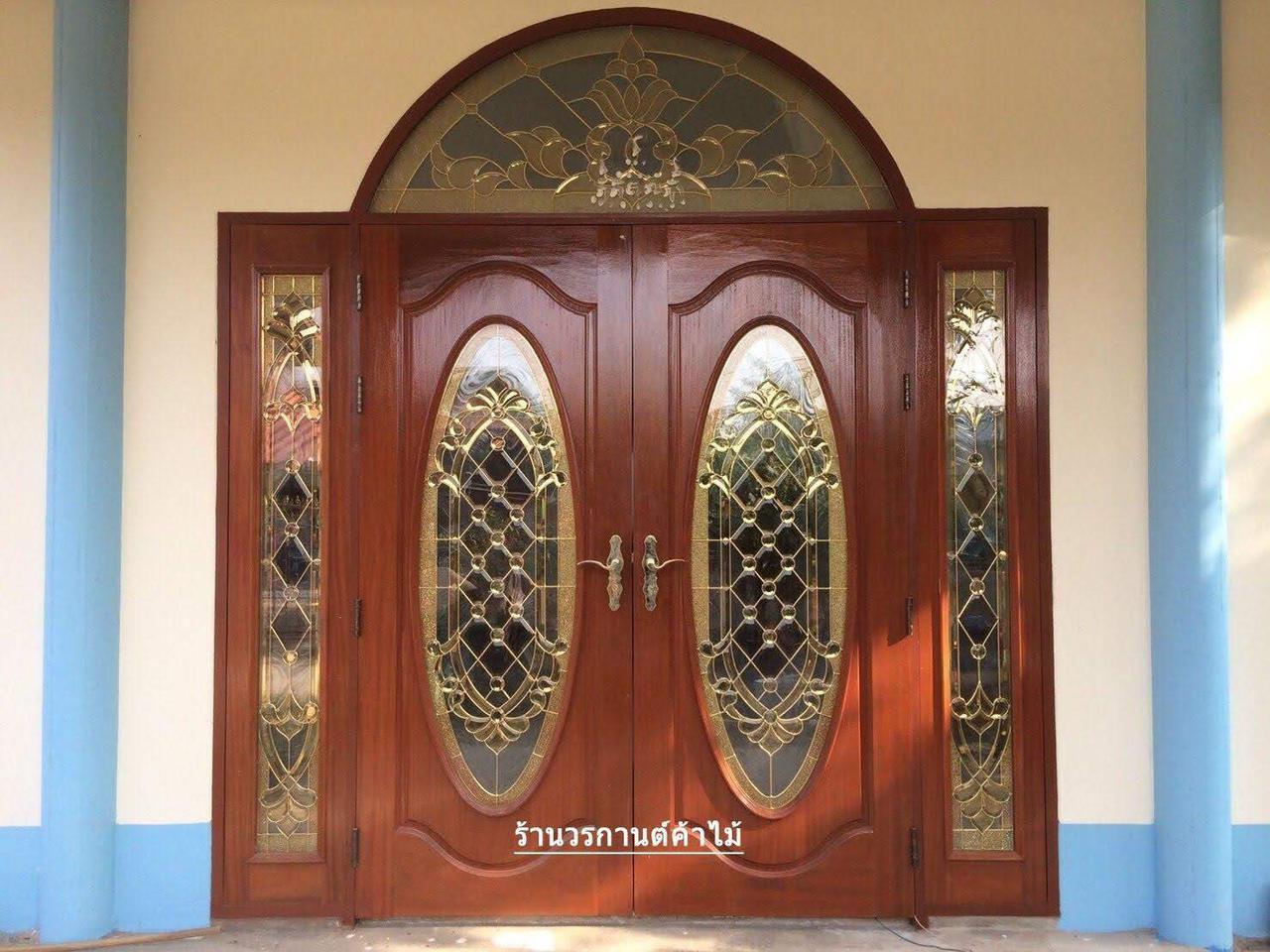 ประตูไม้สักบานเลื่อน ประตูไม้สักกระจกนิรภัย รูปที่ 2