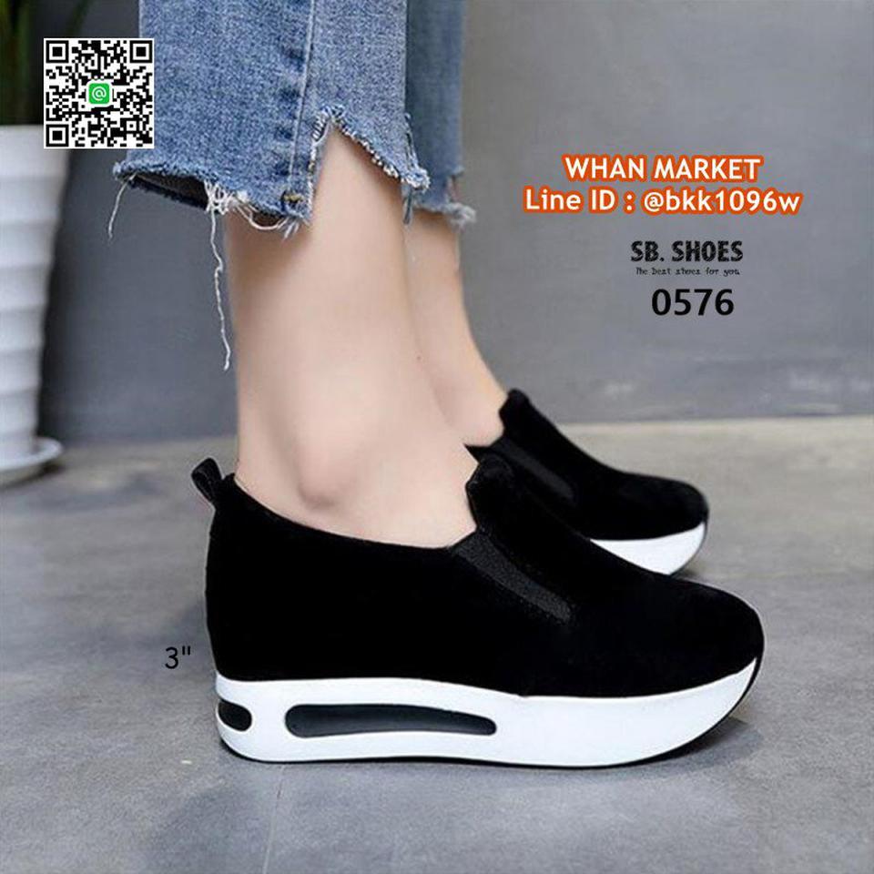 รองเท้าผ้าใบเสริมส้น สูง 3 นิ้ว สไตล์เกาหลี วัสดุหนังสักกะหล รูปที่ 5