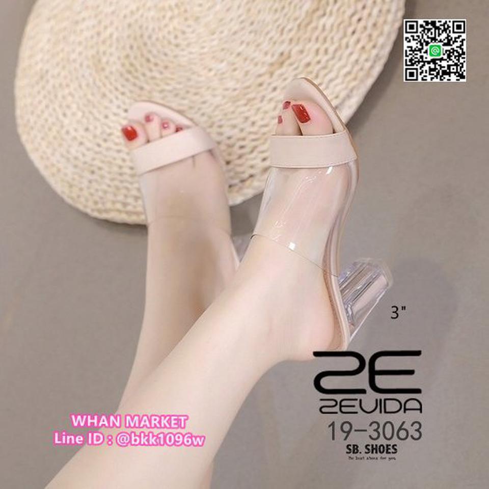 รองเท้าลำลอง ส้นสูง 3 นิ้ว ส้นแก้วใส สีโทนนู้ด ดาดหน้าอคิลิค รูปที่ 3