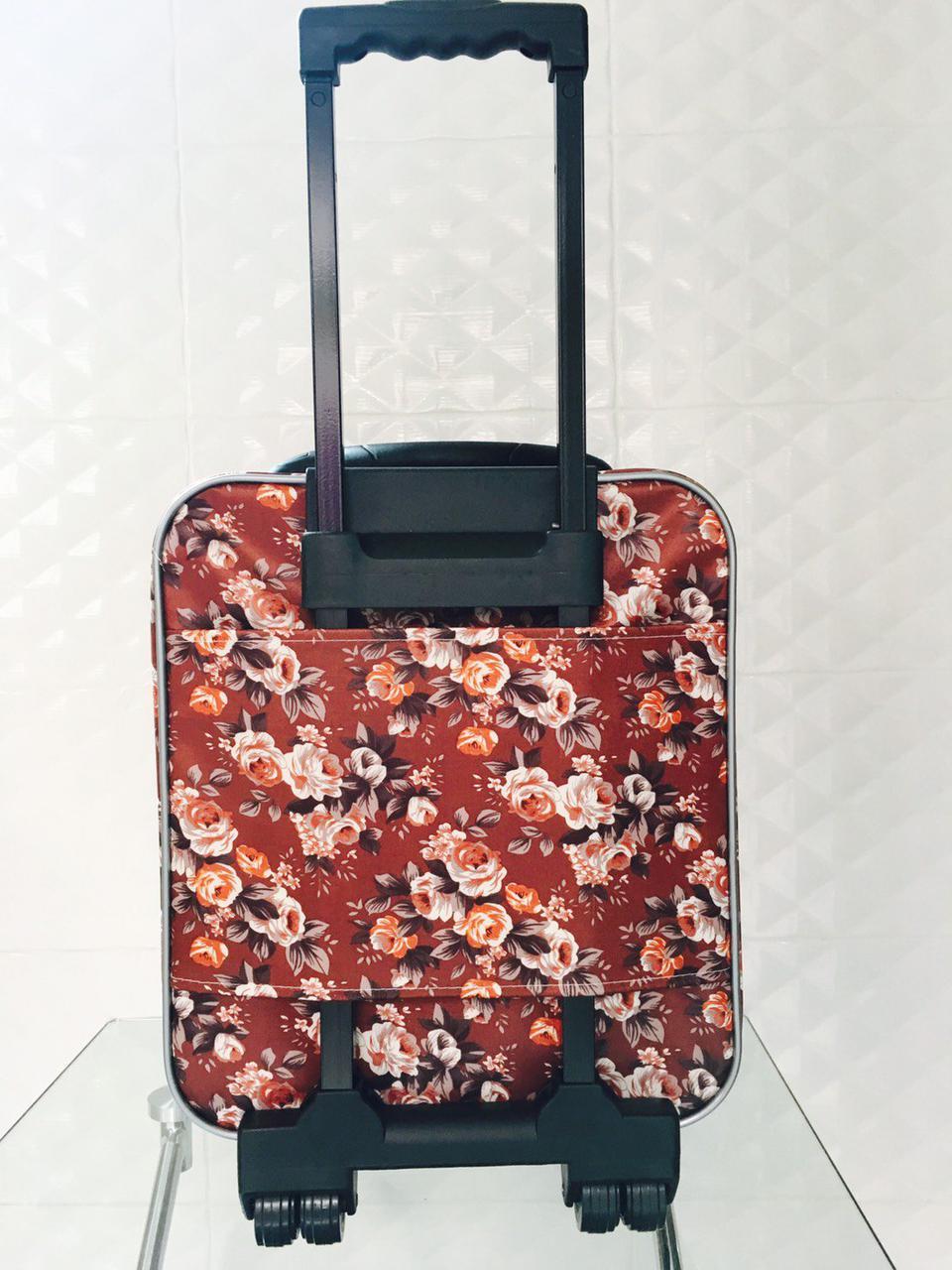 กระเป๋าเดินทางแบบผ้า ลายดอกไม้พื้นน้ำตาล ขนาด 16 นิ้ว รูปที่ 4
