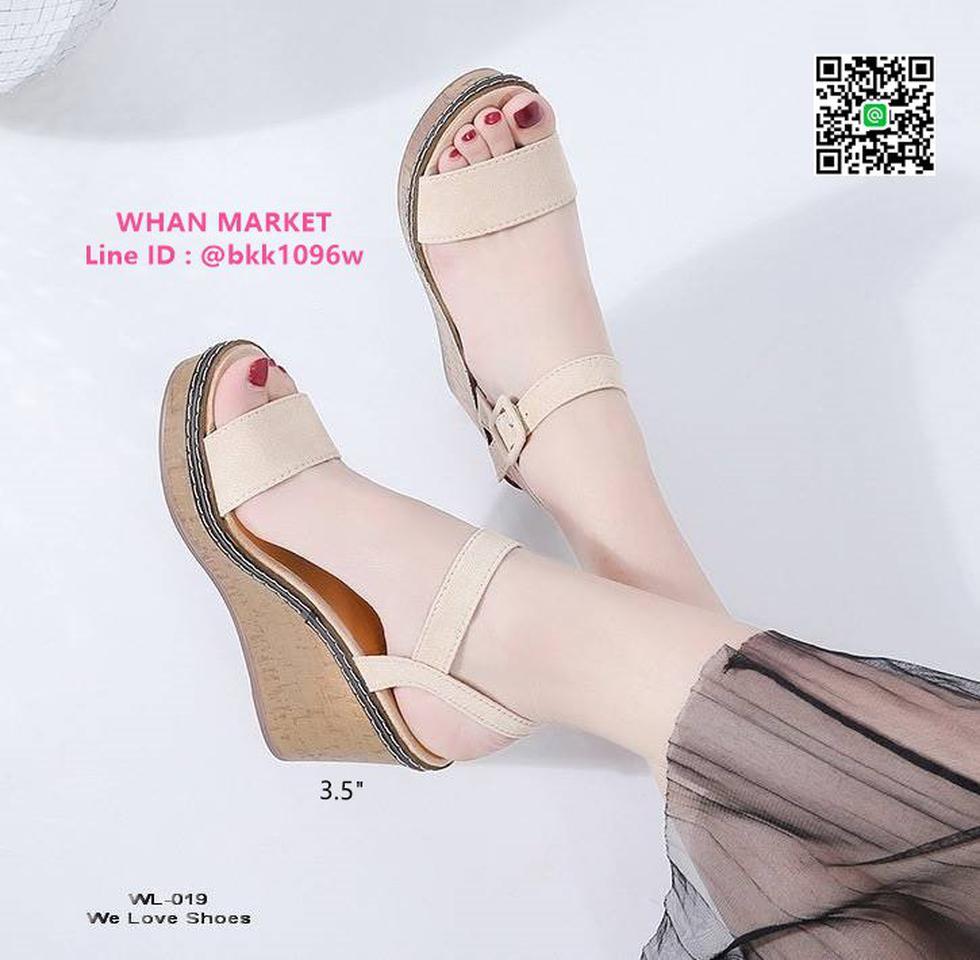 รองเท้าส้นเตารีด สูง 3.5 นิ้ว ผ้าสักหลาด สวมใส่ง่ายด้วยตะขอเ รูปที่ 5