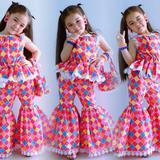 ชุดเด็กหญิง set กางเกงขาม้ากับเสื้อแขนกุดระบายสีสดใส
