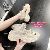 รองเท้าส้นเตารีด รัดส้น วัสดุพื้นpu น้ำหนักเบา สูง6cm อะไหล่เย็บติดแน่น