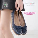 รองเท้าคัชชู วัสดุผ้าแต่งโบว์ น่ารักสุดๆ น้ำหนักเบา ใส่นุ่ม