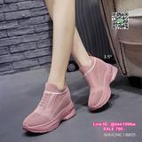 รองเท้าผ้าใบเสริมส้น 3.5 นิ้ว แบบสวม วัสดุผ้าทออย่างดี
