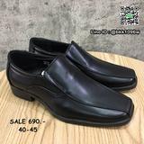 รองเท้าคัชชูหนัง สีดำ ผู้ชาย แบบสวม ทรงสุภาพ วัสดุหนังPU
