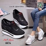 รองเท้าผ้าใบเสริมส้น วัสดุลูกไม้+หนัง PU แพลตฟอร์มเกาหลี