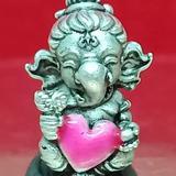 #คเณศน้อย รุ่นบันดาลรัก# #ครูบาชัยยาปัถพี # ~เนื้อสัมฤทธิ์ซาตินเงิน หัวใจชมพู 350._