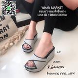 รองเท้าลำลอง ส้นเตารีดหนา 2.5 นิ้ว ทำจากวัสดุหนังพียูนิ่มคุณภาพดี แบบสวม