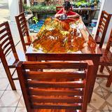 โต๊ะไม้แผ่นเดียว 80x180 + เก้าอี้ 6 ตัว