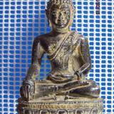 5131 พระบูชาเนื้อตะกั่วสนิมแดง ปิดทองเก่า ฐานกว้าง 1.4 นิ้ว