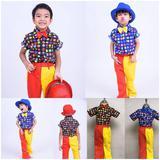 ชุดไทยเด็กชายย้อนยุค เสื้อลายจุดกับกางเกงสองสี