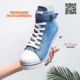 รองเท้าผ้าใบหุ้มข้อ เสริมส้น 3 นิ้ว วัสดุผ้าแคนวาส ส้นPU