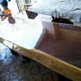 โต๊ะไม้ประดู่แผ่นเดียว ก80xย300  (พร้อมขาเหล็ก)