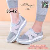 รองเท้าผ้าใบเพื่อสุขภาพ วัสดุผ้าทอตาข่ายอย่างดี สายยางยืดไขว